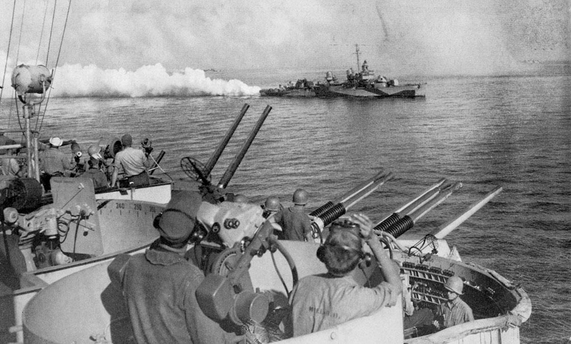 WW-II-Ship-History-Combat-Guns-Smokescreen