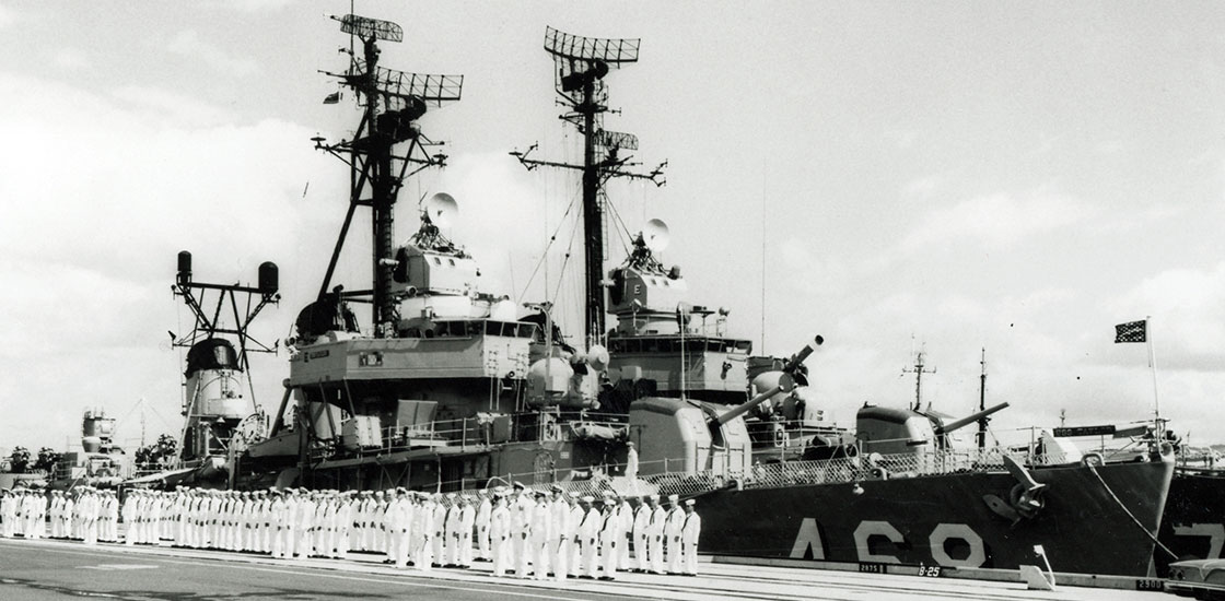 The-Ship-Photos-Cold-War-crew-in-whites-on-dock